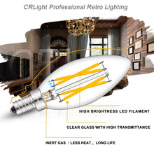 Load image into Gallery viewer, CRLight 4W 500LM Dimmable LED Filament Retro Candelabra Bulbs 2700K Warm White, E12 Base, 40W Incandescent Equivalent, Clear Glass Bullet Top, 6 Pack