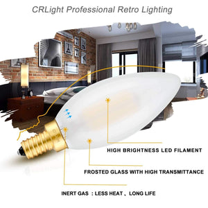 CRLight 6W 600LM Dimmable LED Filament Retro Candelabra Bulbs 3200K Soft White, E12 Base, 60W Incandescent Equivalent, Frosted Glass Bullet Top, 6 Pack