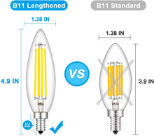Load image into Gallery viewer, CRLight 8W 800LM Dimmable LED Filament Retro Candelabra Bulbs 5000K Daylight White, E12 Base, 80W Incandescent Equivalent, Clear Glass Torpedo Shape, 6 Pack