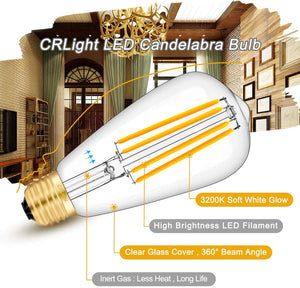 CRLight 8W 3200K Dimmable LED Edison Bulb Soft White 800LM, 80W Incandescent Equivalent E26 Base ST64 Vintage Filament Bulbs, 6 Pack