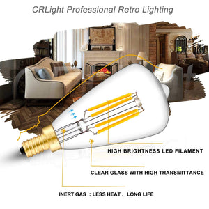 CRLight 4W 400LM Dimmable LED Filament Retro Candelabra Bulbs 2700K Warm White, E12 Base, 40W Incandescent Equivalent, ST48 Edison Style, 6 Pack