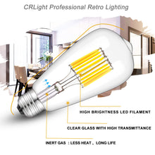 Load image into Gallery viewer, CRLight 10W 5000K Dimmable LED Edison Bulb Daylight White 1000LM, 100W Incandescent Equivalent E26 Base ST64 Vintage Filament Bulbs, 3 Pack
