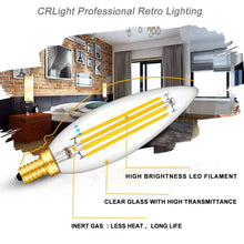 Load image into Gallery viewer, CRLight 8W 800LM Dimmable LED Filament Retro Candelabra Bulbs 3000K Soft White, E12 Base, 80W Incandescent Equivalent, Clear Glass Torpedo Shape, 4 Pack