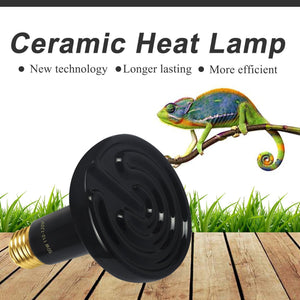 CRLight 50W Ceramic Heat Infrared Emitter Lamp for Reptile Amphibian Pet Heater Lizard Brooder Bulb, Black Round Shape, 2 Pack