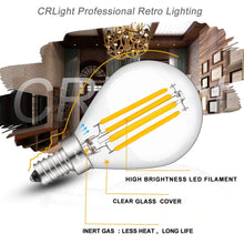 Load image into Gallery viewer, CRLight 4W 450LM Dimmable LED Filament Candelabra Bulbs 3000K Soft White, E12 Base, 45W Incandescent Equivalent, G14 Clear Glass Globe Shape, 8 Pack