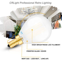 Load image into Gallery viewer, CRLight 6W 600LM Dimmable LED Filament Retro Candelabra Bulbs 5000K Daylight White, E12 Base, 60W Incandescent Equivalent, Frosted Glass Globe Shape, 3 Pack