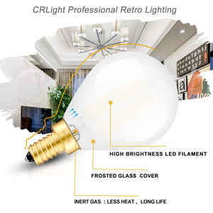 CRLight 6W 600LM Dimmable LED Filament Retro Candelabra Bulbs 5000K Daylight White, E12 Base, 60W Incandescent Equivalent, Frosted Glass Globe Shape, 3 Pack