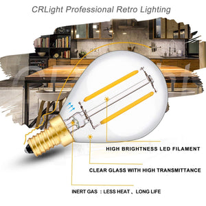 CRLight 2W 250LM Dimmable LED Filament Retro Candelabra Bulbs 2700K Warm White, E12 Base, 25W Incandescent Equivalent, Clear Glass Globe Shape, 8 Pack