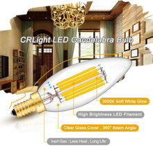 Load image into Gallery viewer, CRLight 6W 650LM Dimmable LED Filament Retro Candelabra Bulbs 3000K Soft White, E12 Base, 65W Incandescent Equivalent, Clear Glass Bullet Top, 8 Pack