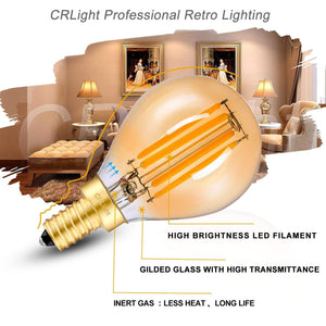 CRLight 4W 450LM Dimmable LED Filament Candelabra Bulbs 2700K Warm White, E12 Base, 45W Incandescent Equivalent, G45 Gilded Glass Globe Shape, 6 Pack