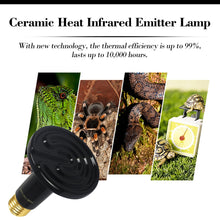 Load image into Gallery viewer, CRLight 100W Ceramic Heat Infrared Emitter Lamp for Reptile Amphibian Pet Heater Lizard Brooder Bulb, Black Round Shape, 2 Pack
