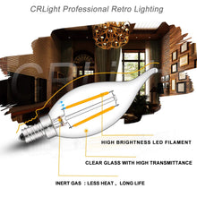 Load image into Gallery viewer, CRLight 2W 250LM Dimmable LED Filament Retro Candelabra Bulbs 2500K Warm White, E12 Base, 25W Incandescent Equivalent, Clear Glass Flame Shape, 8 Pack