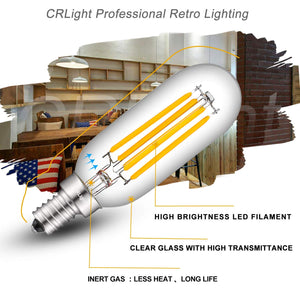 CRLight 4W 500LM Dimmable LED Filament Retro Candelabra Bulbs 3000K Soft White, E12 Base, 50W Incandescent Equivalent, T25 Tubular  Shape, 6 Pack