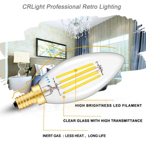 CRLight 4W 500LM Dimmable LED Filament Retro Candelabra Bulbs 5000K Daylight  White, E12 Base, 50W Incandescent Equivalent, Clear Glass Bullet Top, 6 Pack