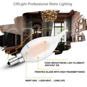 CRLight 6W 600LM Dimmable LED Filament Retro Candelabra Bulbs 2700K Warm White, E12 Base, 60W Incandescent Equivalent, Frosted Glass Flame Shape, 6 Pack