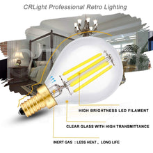 Load image into Gallery viewer, CRLight 4W 500LM Dimmable LED Filament Retro Candelabra Bulbs 5000K Daylight White, E12 Base, 50W Incandescent Equivalent, Clear Glass Globe Shape, 6 Pack