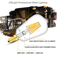 Load image into Gallery viewer, CRLight 6W 700LM Dimmable LED Filament Retro Candelabra Bulbs 3000K Soft White, E12 Base, 70W Incandescent Equivalent, ST58 Edison Style, 3 Pack