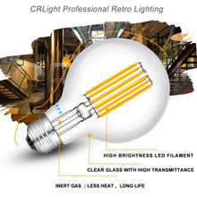 Load image into Gallery viewer, CRLight 8W 3000K Dimmable LED Globe Bulb Soft White 800LM, 80W Incandescent Equivalent E26 Base G80 Vintage Filament Bulbs, 3 Pack