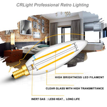 Load image into Gallery viewer, CRLight 5W 500LM Dimmable LED Filament Retro Candelabra Bulbs 3000K Soft White, E12 Base, 50W Incandescent Equivalent, Clear Glass Bullet Top, 6 Pack