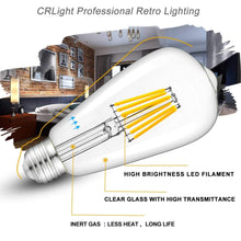 Load image into Gallery viewer, CRLight 6W 3000K Dimmable LED Edison Bulb Soft White 600LM, 60W Incandescent Equivalent E26 Base ST64 Vintage Filament Bulbs, 6 Pack