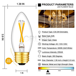 CRLight 2W 250LM Dimmable LED Filament Retro Chandelier Bulbs 3000K Soft White, E26 Base, 25W Incandescent Equivalent, Clear Glass Bullet Top, 8 Pack