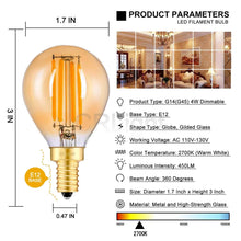 Load image into Gallery viewer, CRLight 4W 450LM Dimmable LED Filament Candelabra Bulbs 2700K Warm White, E12 Base, 45W Incandescent Equivalent, G45 Gilded Glass Globe Shape, 6 Pack
