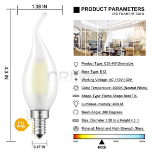 CRLight 4W 400LM Dimmable LED Filament Retro Candelabra Bulbs 4000K Daylight (Neutral White), E12 Base, 40W Incandescent Equivalent, Frosted Glass Flame Shape, 6 Pack
