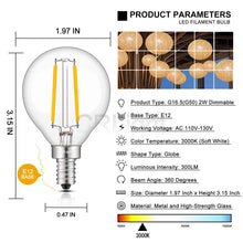 Load image into Gallery viewer, CRLight 2W 300LM Dimmable LED Filament Candelabra Bulbs 3000K Soft White, E12 Base, 30W Incandescent Equivalent, G50 Clear Glass Globe Shape, 8 Pack