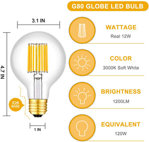 CRLight 12W 3000K Dimmable LED Globe Bulb Soft White 1200LM, 120W Incandescent Equivalent E26 Base G80 Vintage Filament Bulbs, 3 Pack