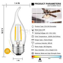 Load image into Gallery viewer, CRLight 2W 300LM Dimmable LED Filament Retro Chandelier Bulbs 3200K Soft White, E26 Base, 30W Incandescent Equivalent, Clear Glass Flame Shape, 8 Pack