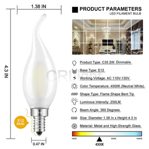 CRLight 2W 250LM Dimmable LED Filament Retro Candelabra Bulbs 4000K Neutral White, E12 Base, 25W Incandescent Equivalent, Frosted Glass Flame Shape, 6 Pack