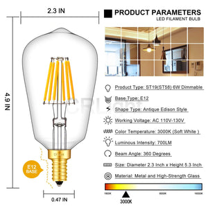 CRLight 6W 700LM Dimmable LED Filament Retro Candelabra Bulbs 3000K Soft White, E12 Base, 70W Incandescent Equivalent, ST58 Edison Style, 3 Pack