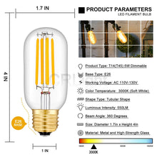 Load image into Gallery viewer, CRLight 5W 3000K Dimmable LED Tubular Bulb Soft White 550LM, 55W Incandescent Equivalent E26 Base T45 Antique Filament Bulbs, 4 Pack