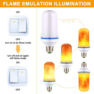 4 Pack LED Simulated Fire Flicker Flame Effect E26 Base Light Bulb, Gravity Sensor and 4 Modes Emulation/Gravity Sensing/General/ Breathing