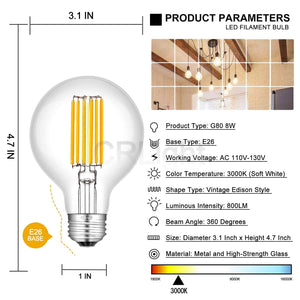 CRLight 8W 3000K Dimmable LED Globe Bulb Soft White 800LM, 80W Incandescent Equivalent E26 Base G80 Vintage Filament Bulbs, 3 Pack