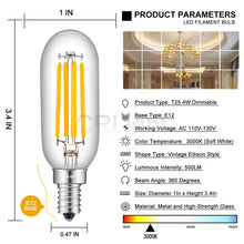 Load image into Gallery viewer, CRLight 4W 500LM Dimmable LED Filament Retro Candelabra Bulbs 3000K Soft White, E12 Base, 50W Incandescent Equivalent, T25 Tubular  Shape, 6 Pack