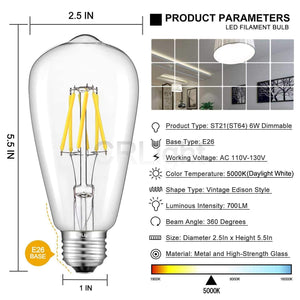 CRLight 6W 5000K Dimmable LED Edison Bulb Daylight White 700LM, 70W Incandescent Equivalent E26 Base ST64 Vintage Filament Bulbs, 3 Pack