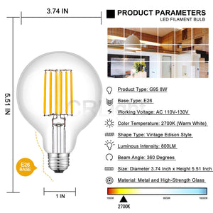 CRLight 8W 2700K Dimmable LED Globe Bulb Warm White 800LM, 80W Incandescent Equivalent E26 Base G95 Vintage Filament Bulbs, 2 Pack