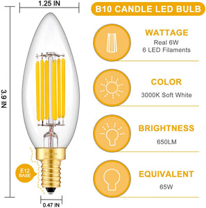 CRLight 6W 650LM Dimmable LED Filament Retro Candelabra Bulbs 3000K Soft White, E12 Base, 65W Incandescent Equivalent, Clear Glass Bullet Top, 8 Pack