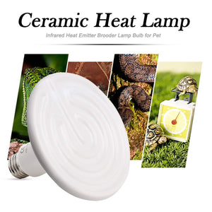 CRLight 250W Ceramic Heat Infrared Emitter Lamp for Reptile Amphibian Pet Heater Lizard Brooder Bulb, White Round Shape