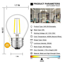 Load image into Gallery viewer, CRLight 2W 300LM Dimmable LED Filament Retro Candelabra Bulbs 4000K Neutral White, E26 Base, 30W Incandescent Equivalent, Clear Glass Globe Shape, 8 Pack