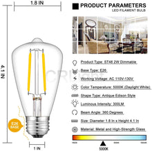 Load image into Gallery viewer, CRLight 2W 300LM Dimmable LED Filament Retro Candelabra Bulbs 5000K Daylight White, E26 Base, 30W Incandescent Equivalent, ST48 Edison Style, 8 Pack