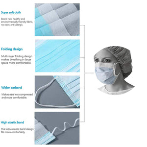 100 Pcs Disposable Face Masks,  Comfortable Medical Sanitary Surgical Mask Thick 3-Layer Masks, Dust Breathable Earloop Antiviral Face Mask - Blue