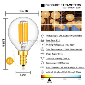 CRLight 6W 700LM Dimmable LED Filament Candelabra Bulbs 2700K Warm White, E12 Base, 70W Incandescent Equivalent, G50 Clear Glass Globe Shape, 6 Pack