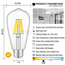 Load image into Gallery viewer, CRLight 6W 4000K Dimmable LED Edison Bulb Daylight (Neutral White) 600LM, 60W Incandescent Equivalent E26 Base ST64 Vintage Filament Bulbs, 6 Pack