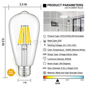 CRLight 6W 4000K Dimmable LED Edison Bulb Daylight (Neutral White) 600LM, 60W Incandescent Equivalent E26 Base ST64 Vintage Filament Bulbs, 6 Pack