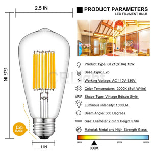 CRLight 15W 3000K Dimmable LED Edison Bulb Soft White 1350LM, 135W Incandescent Equivalent E26 Base ST64 Vintage Filament Bulbs, 2 Pack