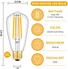 Load image into Gallery viewer, CRLight 8W 3200K Dimmable LED Edison Bulb Soft White 800LM, 80W Incandescent Equivalent E26 Base ST64 Vintage Filament Bulbs, 6 Pack