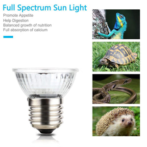 CRLight 3 Pack 50W UVA(97%) & UVB(3%) Full Spectrum Small Sun Light Halogen Basking Lamp for Reptile Lizard