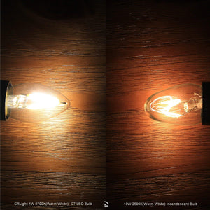 CRLight 1W 150LM LED Filament Retro Candelabra Bulbs 2700K Warm White, E12 Base, 15W Incandescent Equivalent, Clear Glass Bullet Top, 2 Pack